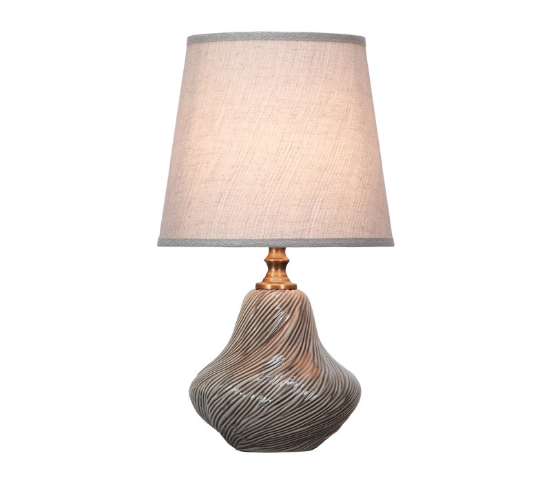 Table Lamp Porcelain with Lampshade Grey Art