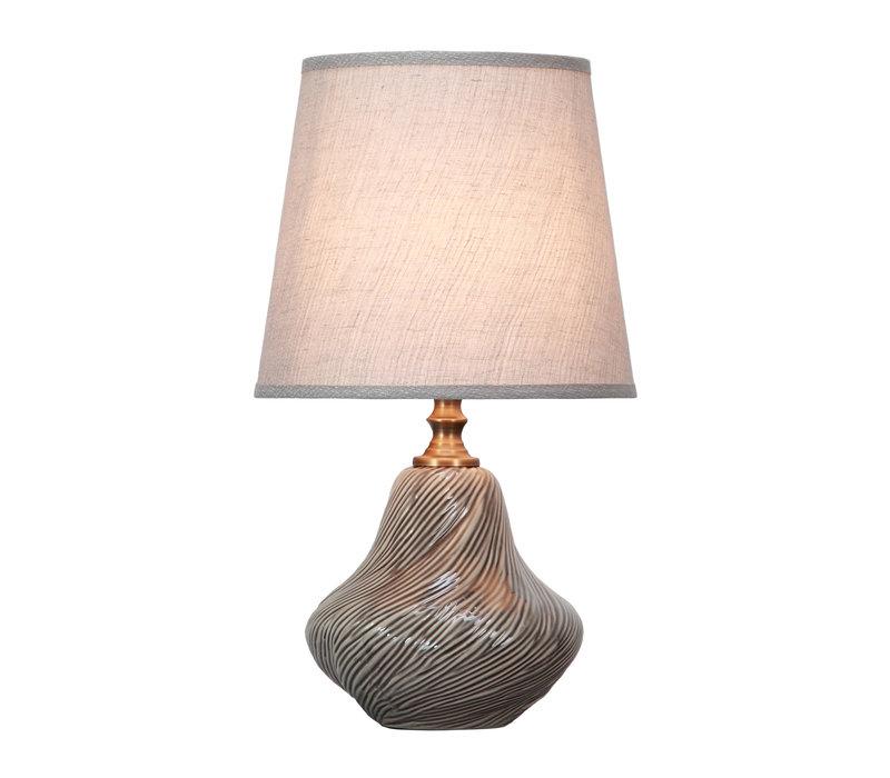 Tafellamp Porselein met Kap Art Grijs