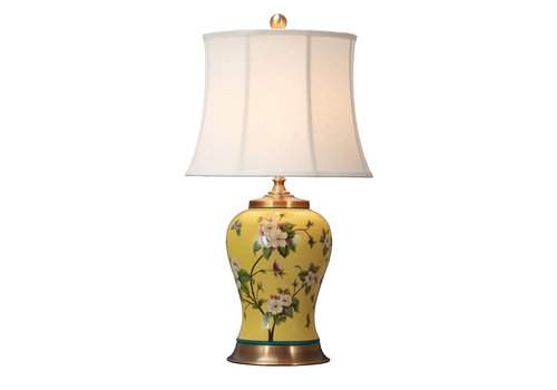 Fine Asianliving Oriental Table Lamp Porcelain with Lampshade Yellow Flowers Handpainted