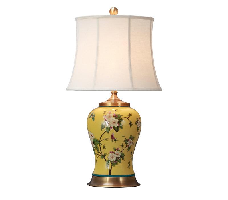 Chinesische Tischlampe Porzellan mit Schirm Handbemalt Gelbe Blumen