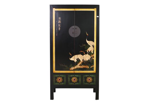 Fine Asianliving Antique Chinese Bridal Cabinet Handpainted Cranes Black