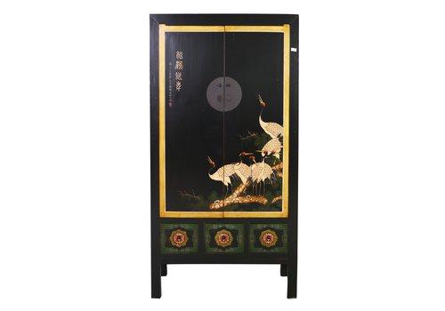 Fine Asianliving Armario de Boda Chino Antiguo Grullas Negro A101xP56xA190cm