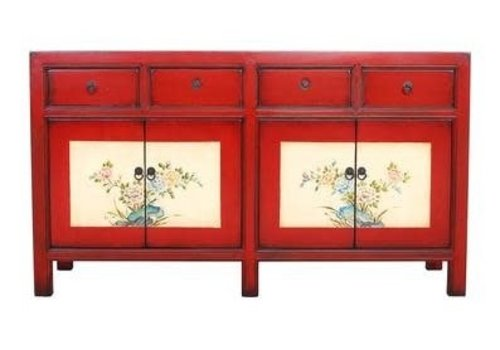 Fine Asianliving Chinees Dressoir met Handgeschilderde Bloemen Rood