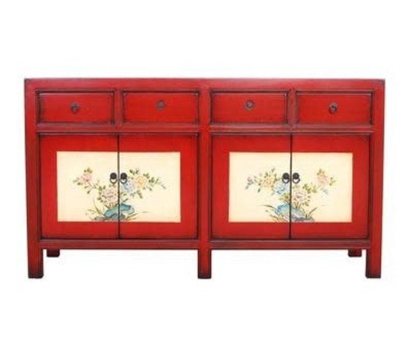 Chinees Dressoir met Handgeschilderde Bloemen Rood