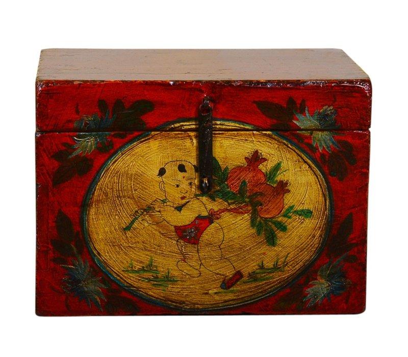 Ancien coffre de rangement chinois peint à la main de style vintage - enfant avec des fruits