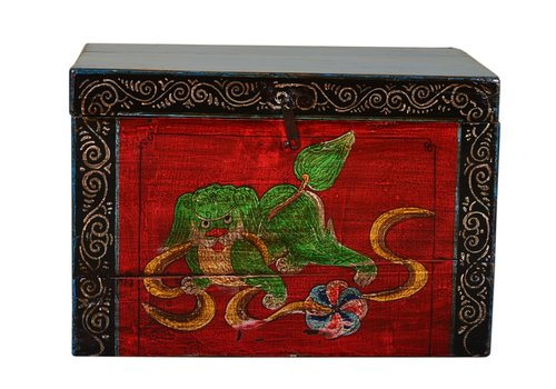 Fine Asianliving Antique Chinese Storage Trunk Hand Painted Vintage Style - Auspicious dog A