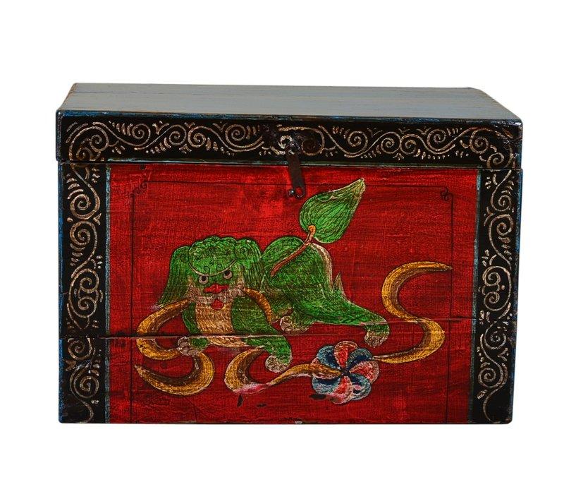 Ancien coffre de rangement chinois peint à la main de style vintage - chien de bon augure A