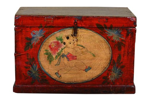 Fine Asianliving Antique Chinese Storage Trunk Hand Painted Vintage Style - Child with flower