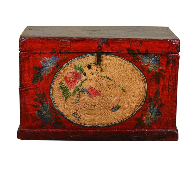 Antique Chinese Storage Trunk Hand Painted Vintage Style - Child with flower