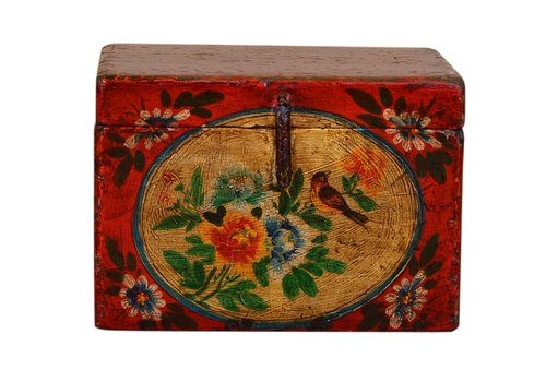 Fine Asianliving Antique Chinese Storage Trunk Hand Painted Vintage Style - Flowers B