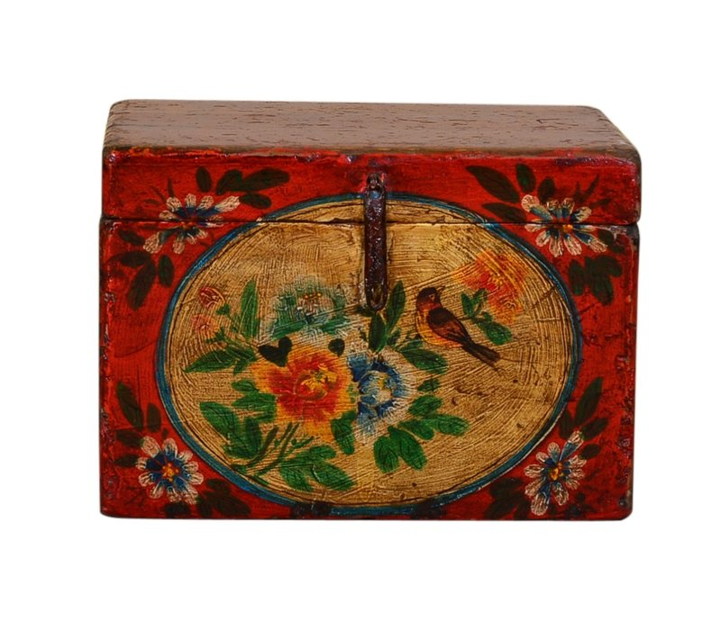 Antique Chinese Storage Trunk Hand Painted Vintage Style - Flowers B