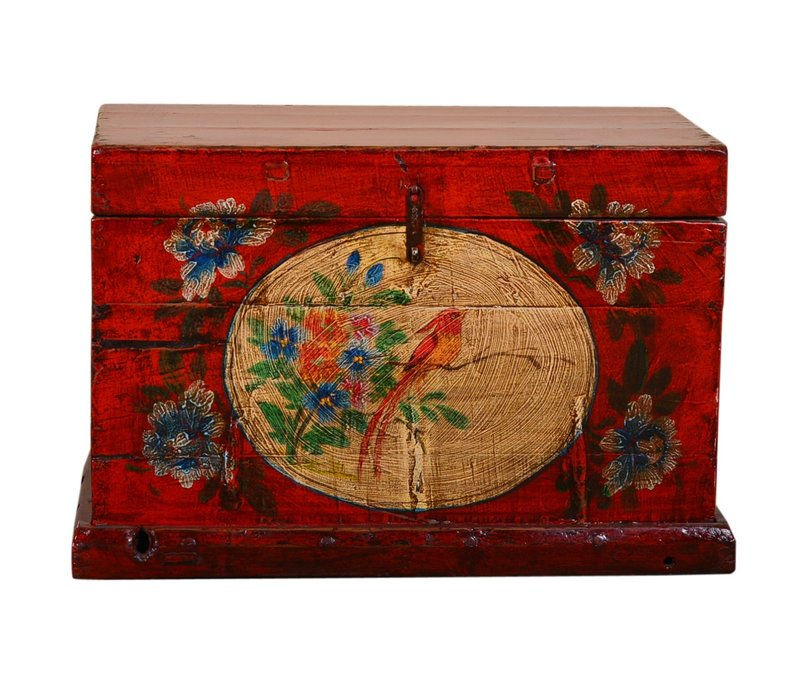 Antique Chinese Storage Trunk Hand Painted Vintage Style - Bird