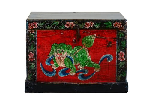 Fine Asianliving Antique Chinese Storage Trunk Hand Painted Vintage Style - Auspicious dog B