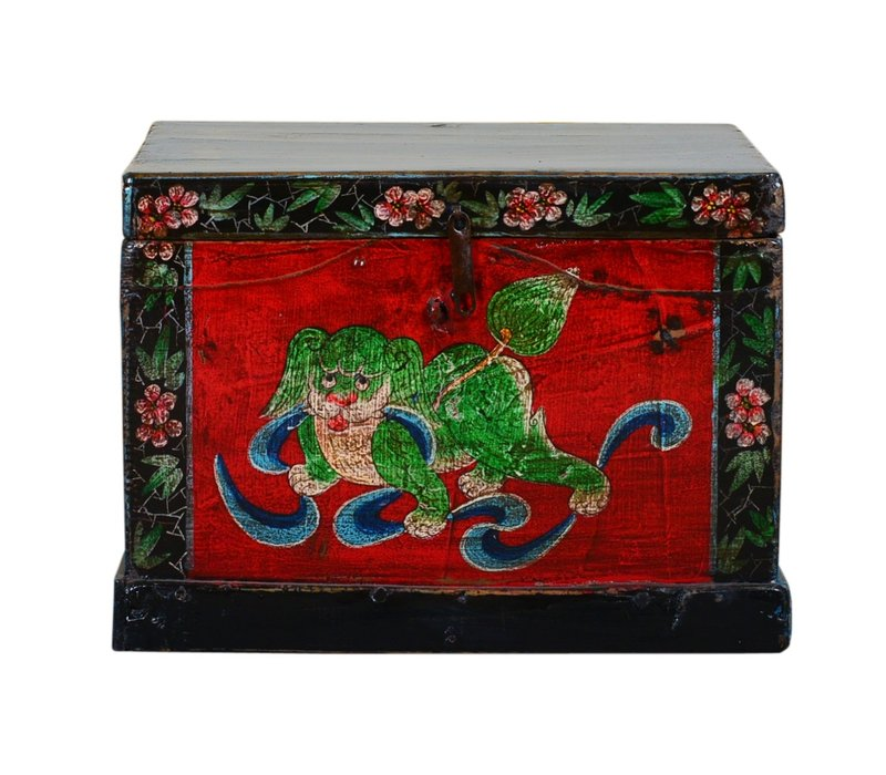 Antique Chinese Storage Trunk Hand Painted Vintage Style - Auspicious dog B