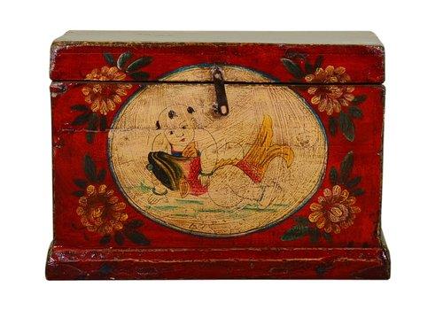 Fine Asianliving Ancien coffre de rangement chinois peint à la main de style vintage - enfant avec poisson