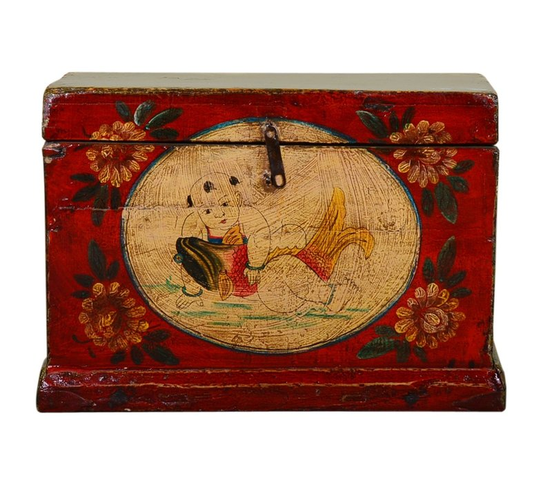 Antique Chinese Storage Trunk Hand Painted Vintage Style - Child with fish