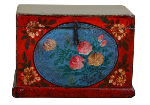 Fine Asianliving Antique Chinese Storage Trunk Hand Painted Vintage Style - Flowers C