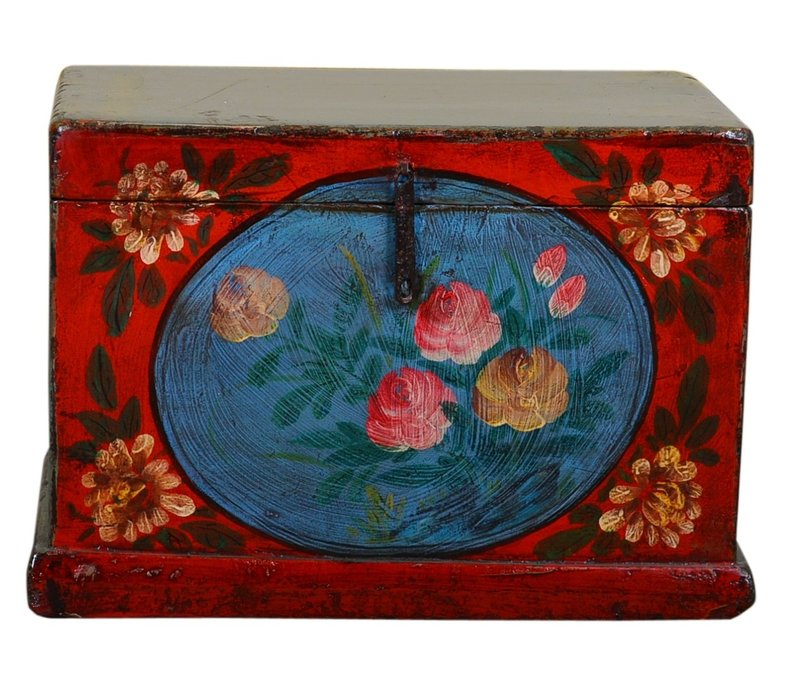 Antique Chinese Storage Trunk Hand Painted Vintage Style - Flowers C