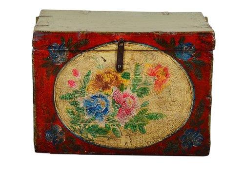 Fine Asianliving Antieke Chinese Opberg Kist Handgeschilderd Vintage Stijl - Bloemen D