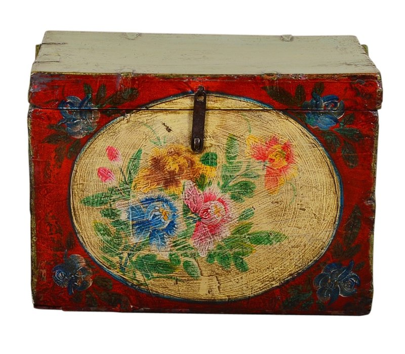 Antique Chinese Storage Trunk Hand Painted Vintage Style - Flowers D