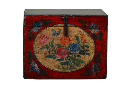 Fine Asianliving Antique Chinese Storage Trunk Hand Painted Vintage Style - Flowers A