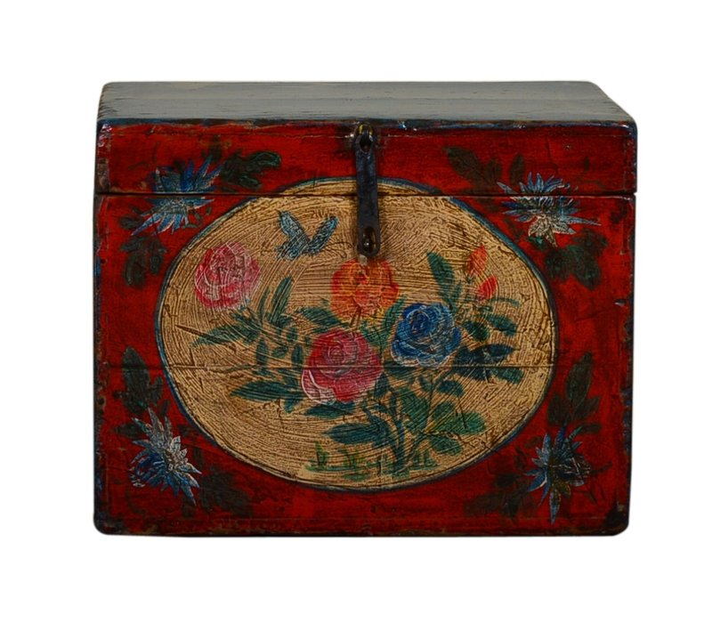 Antique Chinese Storage Trunk Hand Painted Vintage Style - Flowers A