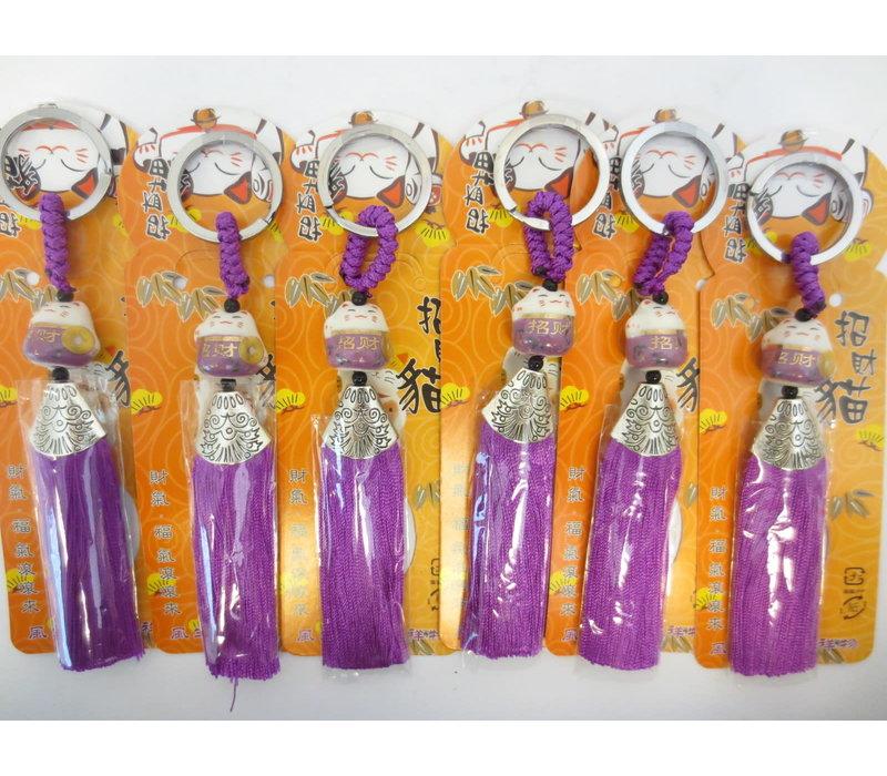 Fine Asianliving Lucky Cat Maneki Neko Keychain Purple - Courage & Bravery