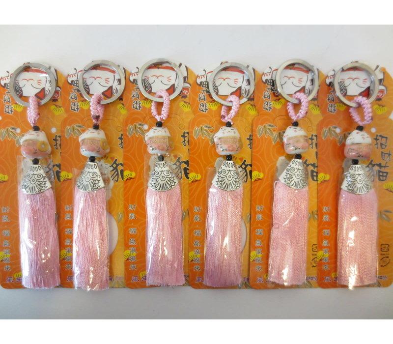 Fine Asianliving Lucky Cat Maneki Neko Keychain Pink - Love
