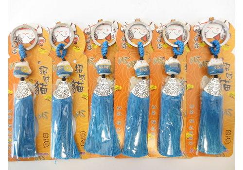 Fine Asianliving Lucky Cat Sleutelhanger Blauw