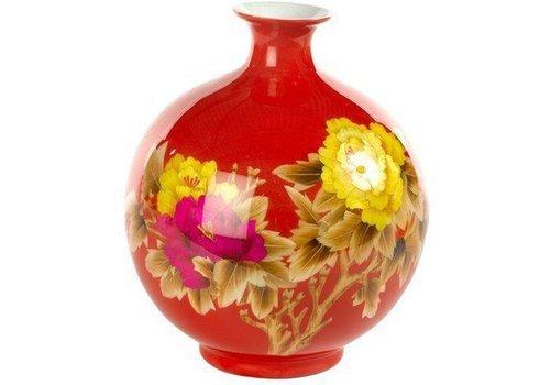 Fine Asianliving Vase Chinois Pivoine Rouge Fait Main H29.5cm