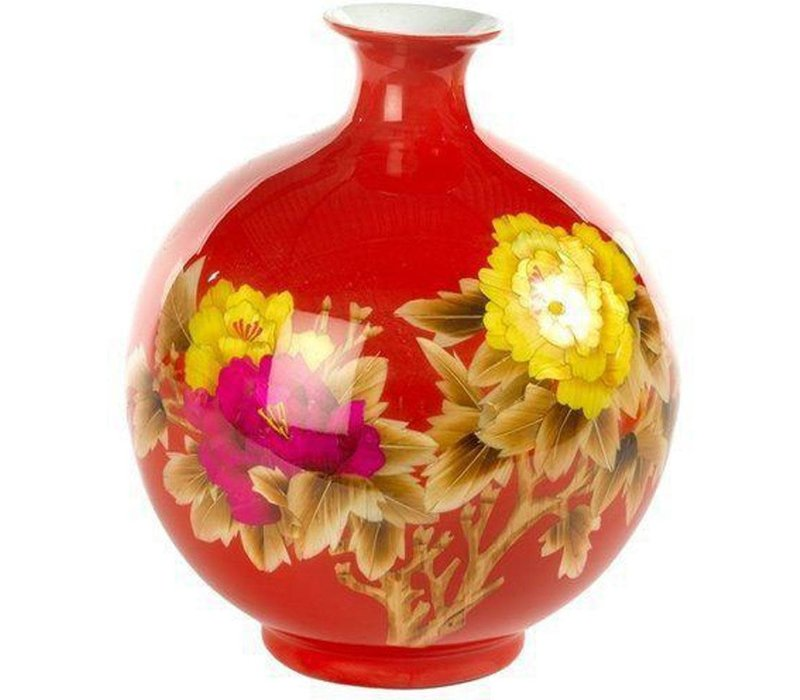 Chinese Vase Porcelain Handmade Wheat Straw Red H29.5cm