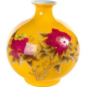 Fine Asianliving Vaso Cinese in Ceramica Porcellana Fatto a Mano Peonia Giallo A29.5cm
