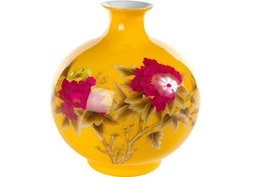 Fine Asianliving Chinese Vase Porcelain Handmade Peony Yellow H29.5cm
