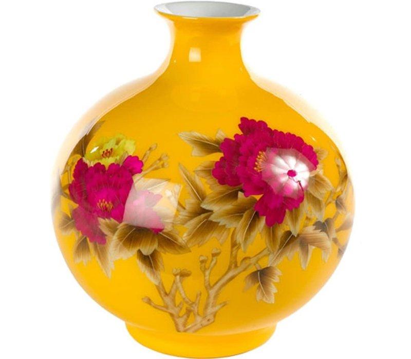 Chinesische Vase Porzellan Handgemacht Weizenstroh Gelb H29.5cm