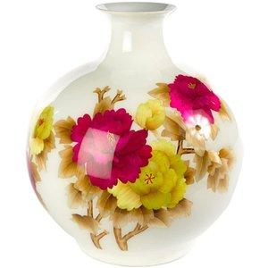 Fine Asianliving Chinesische Vase Porzellan Handgefertigt Pfingstrose Weiß H29.5cm