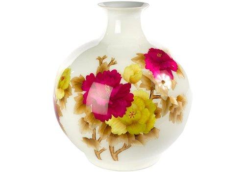 Fine Asianliving Chinese Vase Porcelain Handmade Peony White H29.5cm