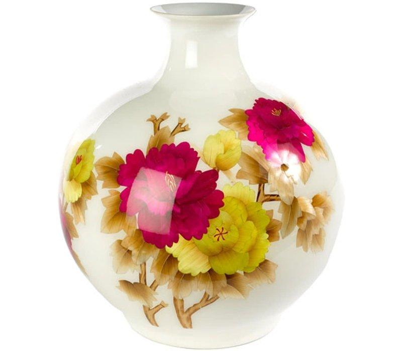 Fine Asianliving Chinesische Vase Porzellan Handgemacht Weizenstroh Weiss H29.5cm