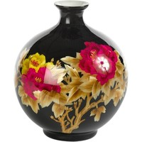 Chinesische Vase Porzellan Handgemacht Weizenstroh Schwarz H29.5cm