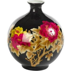 Fine Asianliving Chinese Vaas Porselein Handgemaakt Pioenrozen Zwart H29.5cm