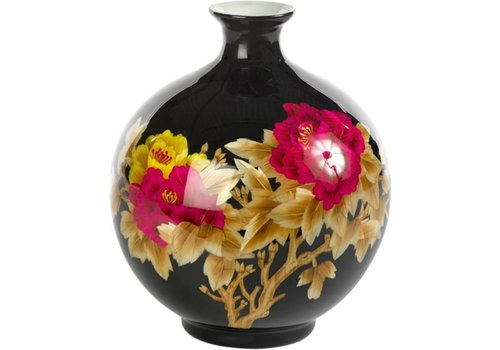 Fine Asianliving Chinesische Vase Porzellan Handgefertigt Pfingstrose Schwarz H29.5cm