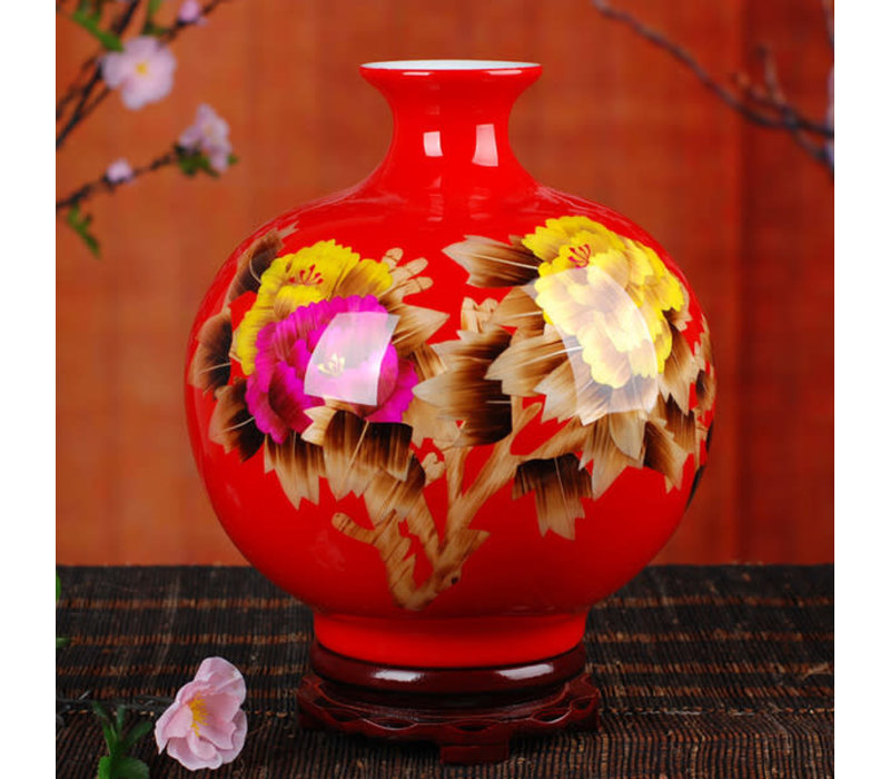 Chinese Vaas Porselein Handgemaakt Pioenrozen Rood H29.5cm