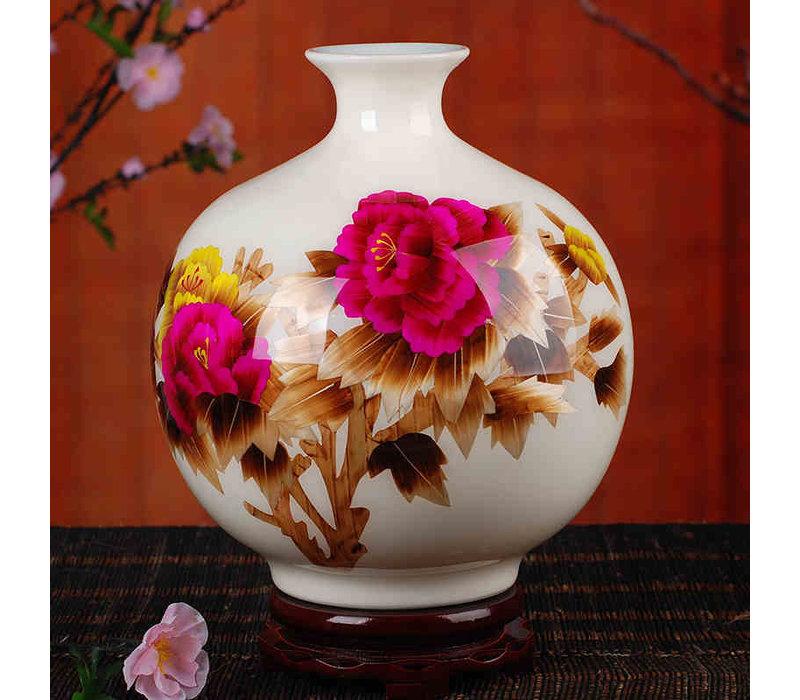 Chinese Vaas Porselein Handgemaakt Tarwe Stro Wit H29.5cm