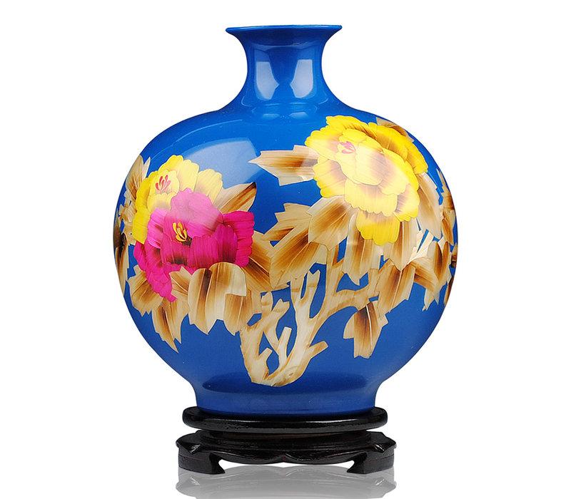 Chinese Vaas Porselein Handgemaakt Pioenrozen Blauw H29.5cm