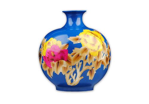 Fine Asianliving Chinese Vaas Porselein Handgemaakt Pioenrozen Blauw H29.5cm