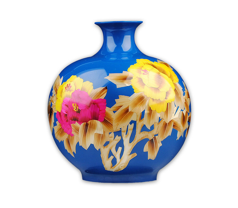 Jarrón de Porcelana Chino Hecho a Mano Peonía Azul Alt.29.5 cm
