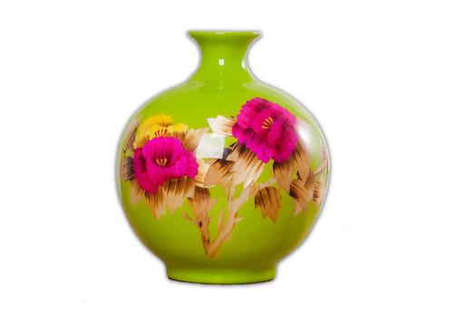Fine Asianliving Chinese Vase Porcelain Handmade Peony Green H29.5cm