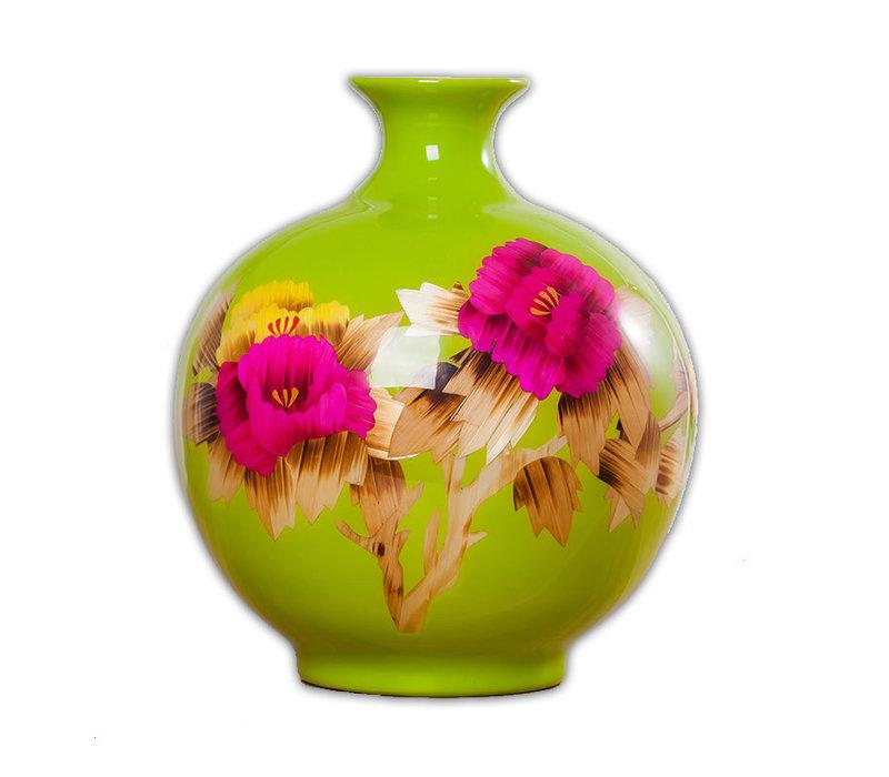 Vase Chinois Pivoine Vert Fait Main H29.5cm