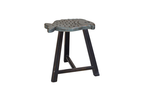 Fine Asianliving Fine Asianliving Chinese Stool Solid Wood Oriental Fish Design Grey H49cm