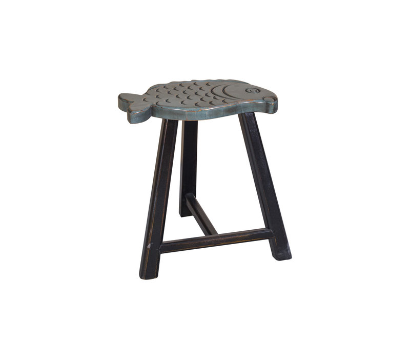 Asian Fish Stool Designed Grey H49cm