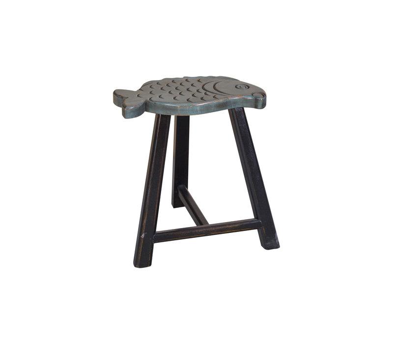 Taburete de Madera Chino Forma de Pescado Gris A49cm